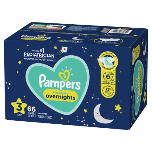 Pampers Swaddlers Overnights Size 3 Baby Diapers Super Pack Perspective: front
