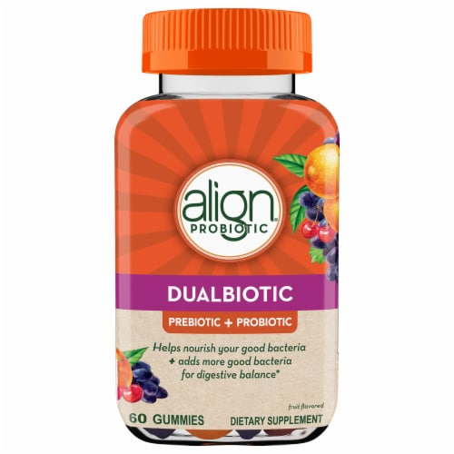 Align DualBiotic Prebiotic + Probiotic Supplement Digestive Health Gummies Perspective: front