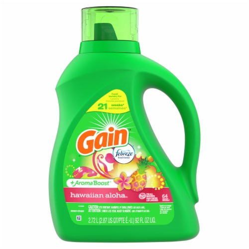 Gain + Aroma Boost Hawaiian Aloha Liquid Laundry Detergent Perspective: front