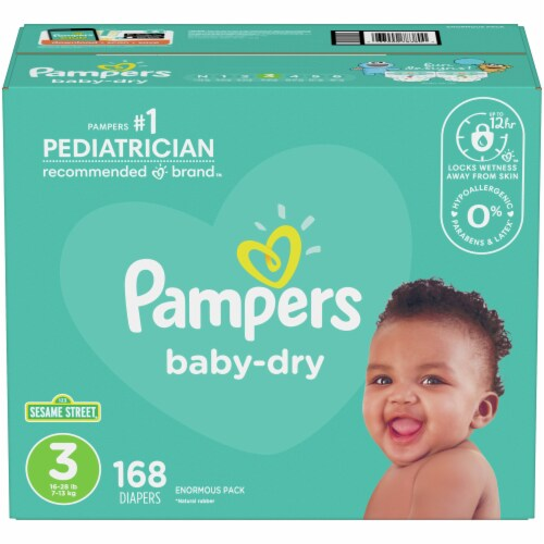 Pampers Baby-Dry Size 3 Diapers Perspective: front