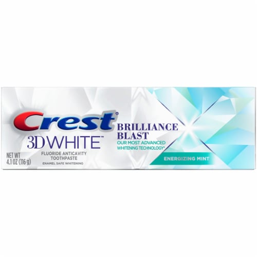 Crest 3D White Brilliance Blast Teeth Whitening Toothpaste Energizing Mint Perspective: front