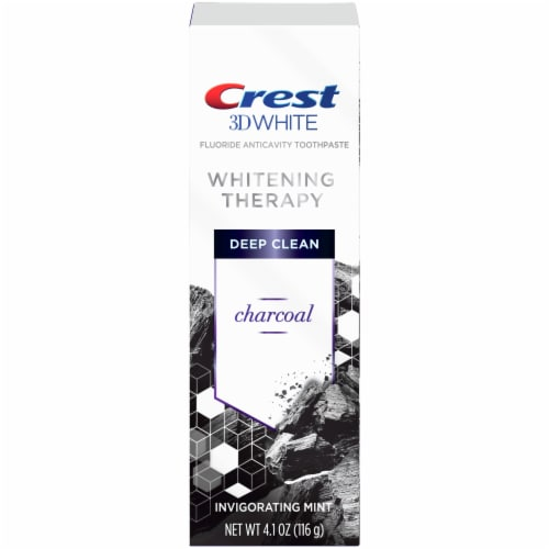 Crest 3D White Whitening Therapy Charcoal Deep Clean Fluoride Toothpaste Invigorating Mint Perspective: front