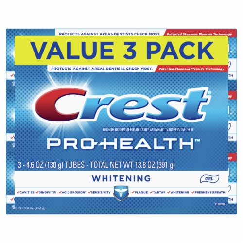 Crest Pro-Health Whitening Fluoride Gel Toothpaste 3 Count Perspective: front