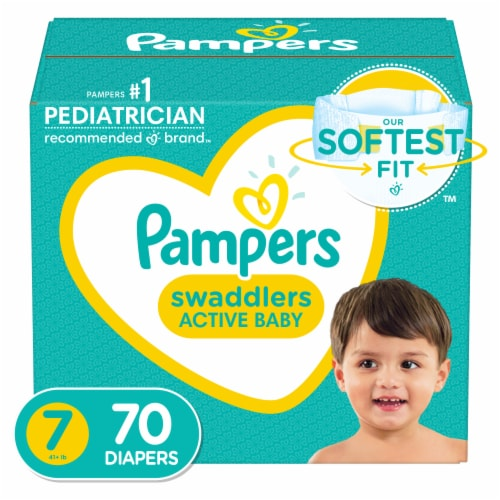 Pampers Swaddlers Size 7 Diapers Perspective: front