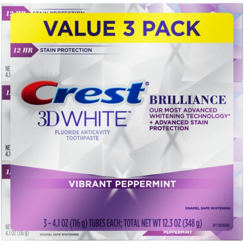 Crest 3D White Brilliance Vibrant Peppermint Toothpaste Value Pack Perspective: front