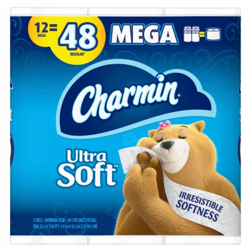 Charmin Ultra Soft Mega Rolls Toilet Paper Perspective: front