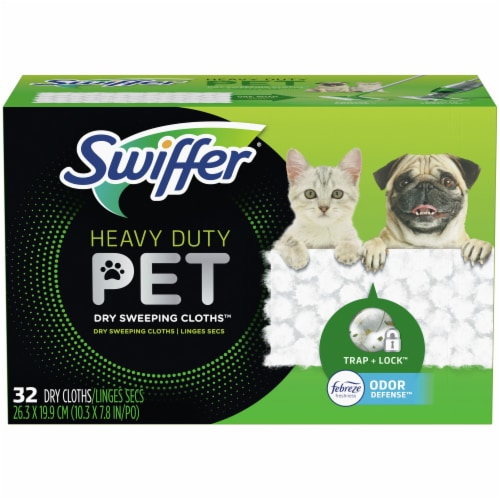 Swiffer Heavy Duty Pet with Febreze Odor Defense Dry Sweeping Cloths Perspective: front