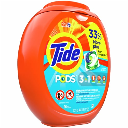 Tide Pods 3-In-1 Clean Breeze Laundry Detergent Pacs Perspective: front