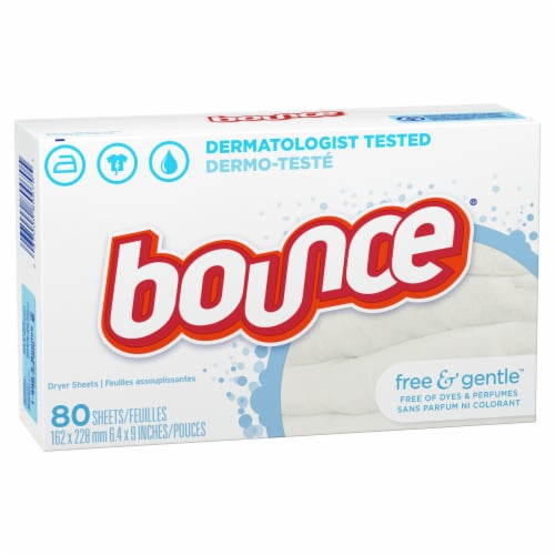 Bounce Free & Gentle Dryer Sheets Perspective: front