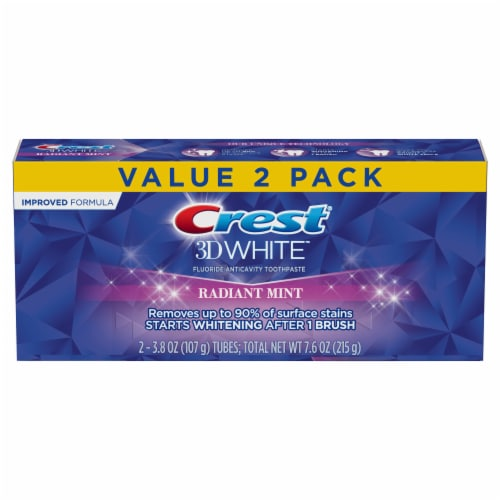 Crest® 3D White Radiant Mint Toothpaste Perspective: front