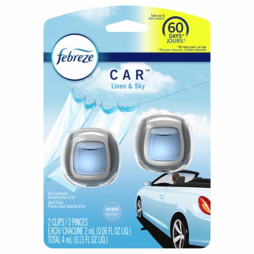 Febreze Car Linen & Sky Odor-Eliminating Air Freshener Vent Clips Perspective: front