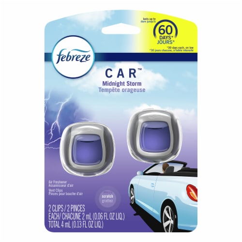 Febreze Car Odor-Eliminating Air Freshener Vent Clips Midnight Storm Perspective: front
