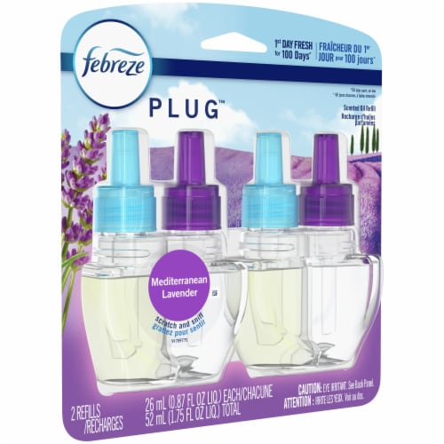 Febreze Plug Mediterranean Lavender Air Freshener Scented Oil Refill Perspective: front