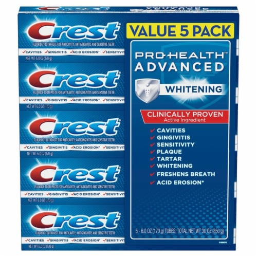 Crest Pro-Health Advanced Whitening Power Toothpaste (6.0 Ounce, 5 Count) Perspective: front