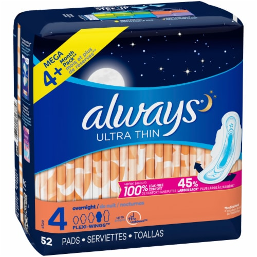 Always Ultra Thin Size 4 Overnight Pads With Wings Unscented Perspective: front