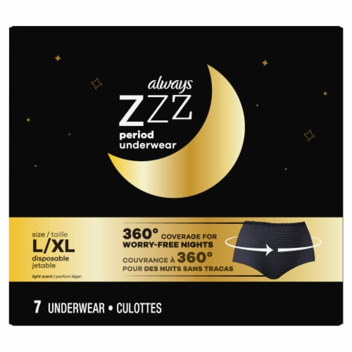 Always ZZZ Large / Extra Large Overnight Menstrual Pants Perspective: front