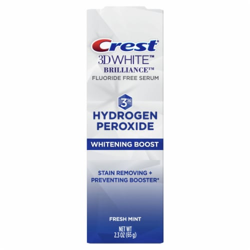 Crest 3D White Brilliance Hydrogen Peroxide Fresh Mint Whitening Boost Toothpaste Perspective: front