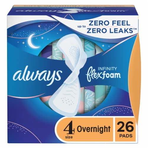 Always Infinity FlexFoam Unscented Size 4 Overnight Pads Perspective: front