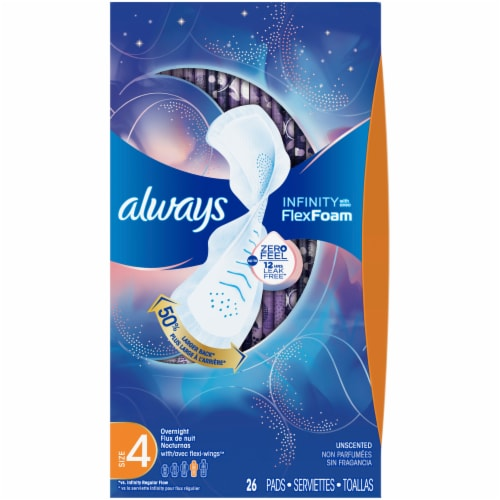 Always Infinity FlexFoam Size 4 Overnight Unscented Pads with Flex-Wings Perspective: front