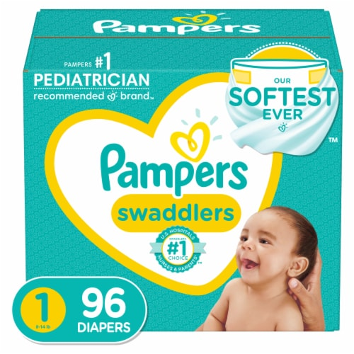 Pampers Swaddlers Size 1 Diapers Perspective: front