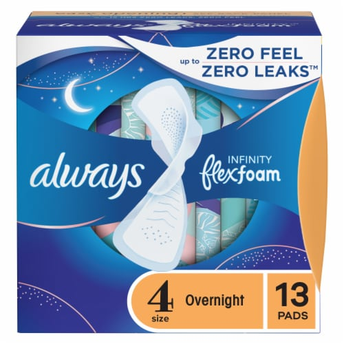 Always Infinity FlexFoam Size 4 Unscented Overnight Pads with Wings Perspective: front
