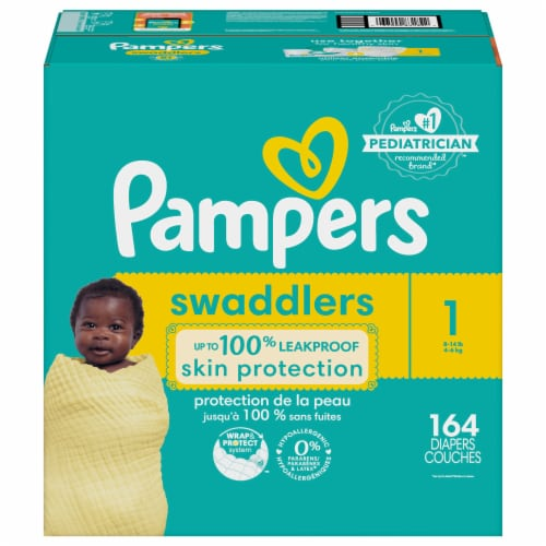 Pampers Swaddlers Size 1 Baby Diapers Enormous Pack Perspective: front