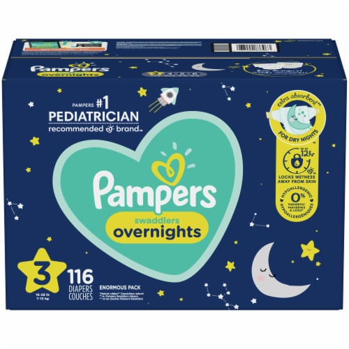 Pampers Swaddlers Overnights Size 3 Baby Diapers Perspective: front
