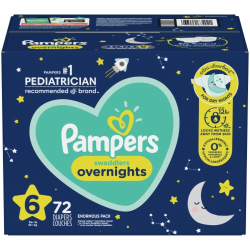 Pampers Swaddlers Overnights Size 6 Diapers Perspective: front