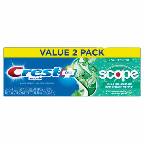 Crest + Scope Complete Whitening Toothpaste Minty Fresh Twin Pack Perspective: front