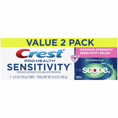 Crest Pro-Health Toothpaste Sensitivity Teeth Whitening Plus Scope Twin Pack Perspective: front