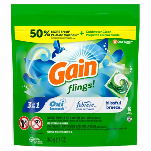 Gain Flings! Blissful Breeze Liquid Laundry Detergent Pacs Perspective: front