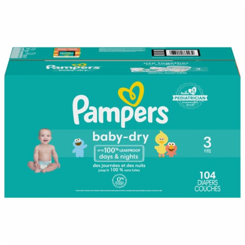 Pampers Baby-Dry Size 3 Baby Diapers Perspective: front