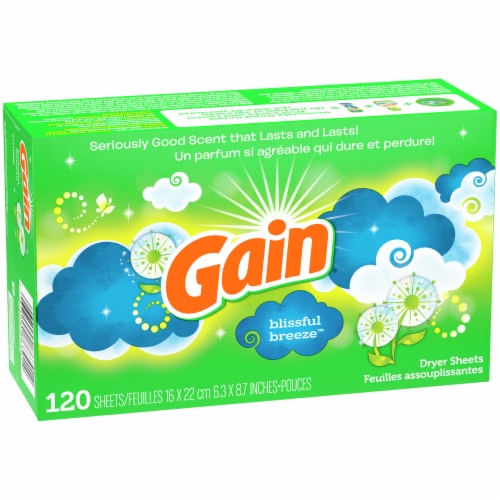 Gain Blissful Breeze Dryer Sheets Perspective: front