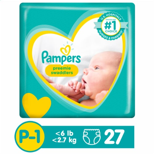 Pampers Preemie Swaddlers Size P-1 Diapers Perspective: front