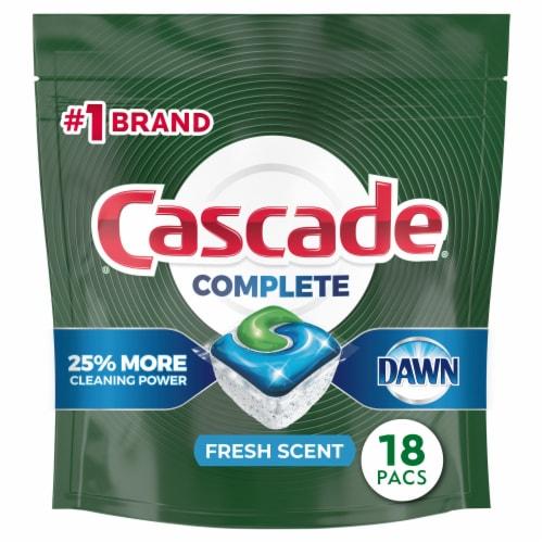 Cascade Complete Lemon Scent ActionPacs Dishwasher Detergent Perspective: front