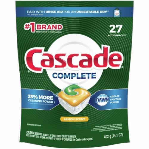 Cascade Complete Lemon Scent Dishwasher Detergent ActionPacs Perspective: front