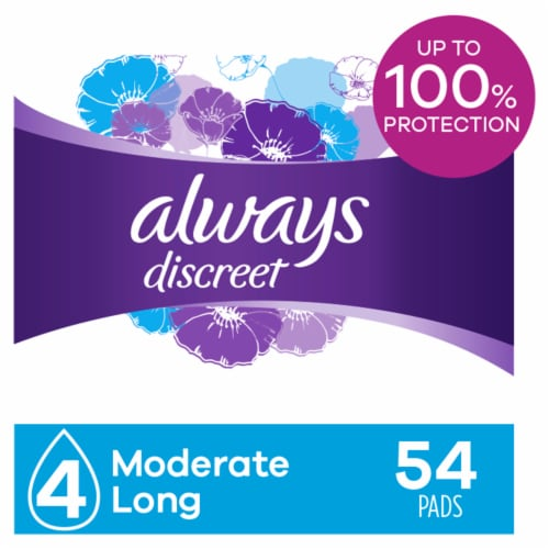 Always Discreet Incontinence Pads for Women Moderate Absorbency Long Length Perspective: front