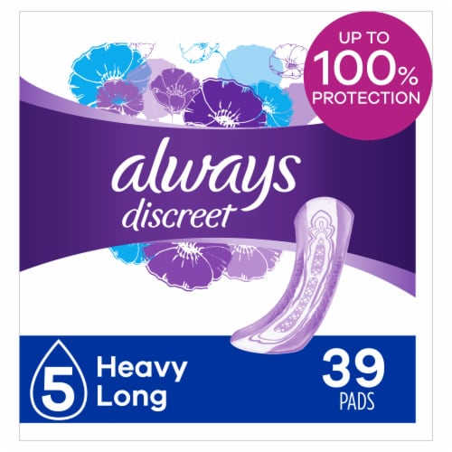 Always Discreet Incontinence Pads for Women Heavy Absorbency Long Length Perspective: front