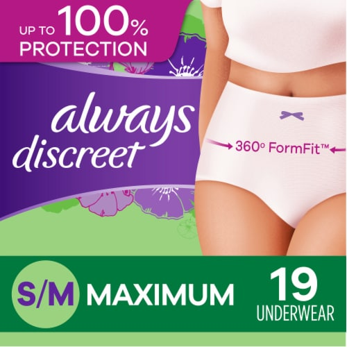 Always Discreet Maximum Protection Small/Medium Women's Incontinence Underwear Perspective: front