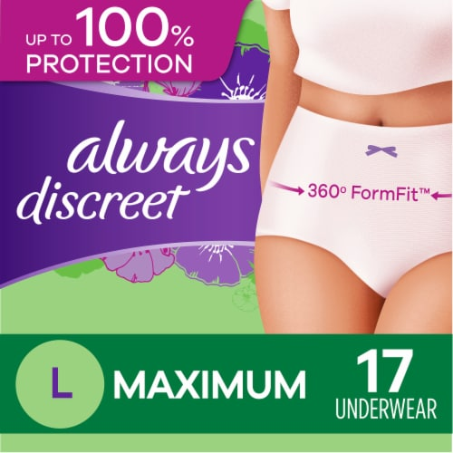 Always Discreet Incontinence Maximum Large Underwear for Women Perspective: front
