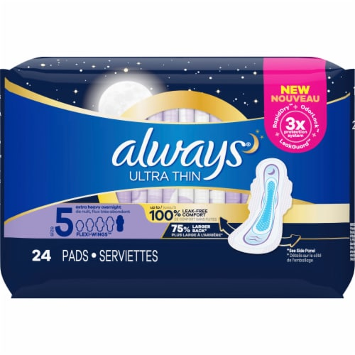Always Ultra Thin Size 5 Extra Heavy Overnight Unscented Pads with Flexi-Wings Perspective: front