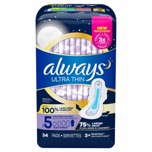 Always Ultra Thin Pads Size 5 Extra Heavy Overnight Absorbency Unscented with Wings Perspective: front