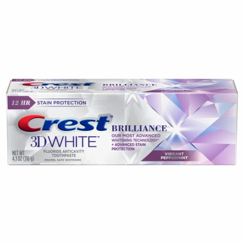 Crest 3D White Brilliance + Advanced Stain Protection Teeth Whitening Toothpaste Vibrant Peppermint Perspective: front