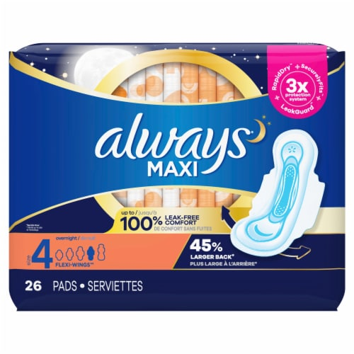 Always Maxi Size 4 Overnight Unscented Pads with Flexi-Wings Perspective: front