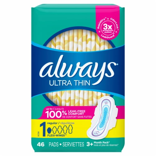 Always Ultra Thin Size 1 Regular Unscented Pads with Wings Perspective: front