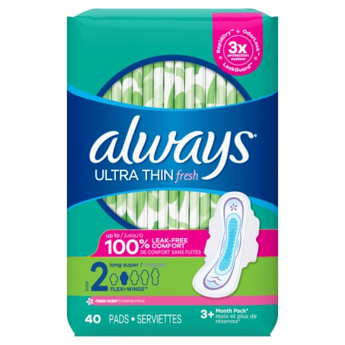 Always Maxi Size 2 Long Super Unscented Pads with Flexi-Wings Perspective: front