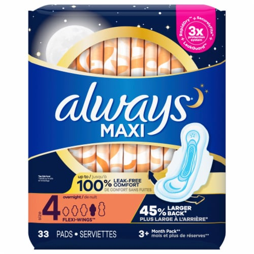 Always Maxi Size 4 Overnight Absorbency Unscented Pads With Wings Perspective: front