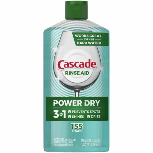 Cascade Power Dry Dishwasher Rinse Aid Perspective: front