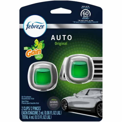 Febreze Auto Original with Gain Scent Air Freshener Car Vent Clips Perspective: front