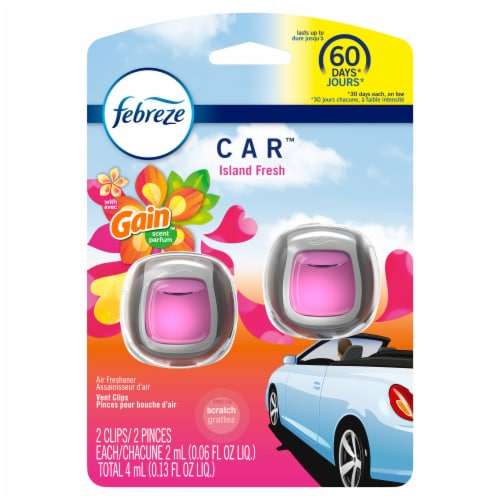 Febreze Car Odor-Eliminating Air Freshener Vent Clips with Gain Scent Island Fresh Perspective: front